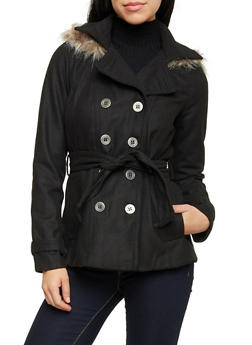 Felt Peacoat with Fur Trimmed Hood - 3085051068300