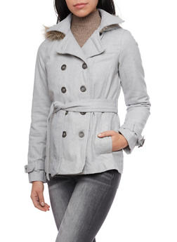 Felt Peacoat with Fur Trimmed Hood - 3085051068300
