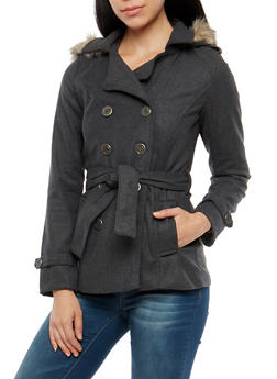 Wool Belted Peacoat with Faux Fur Lined Hood - 3085051068833