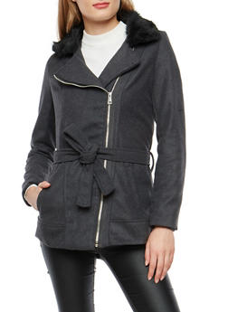 Zip Up Wool Jacket with Faux Fur Trim - 3085051069510