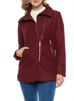 Asymmetrical Zip Wool Coat - 3085051069700