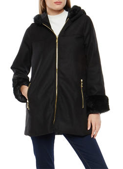 Long Faux Fur Trim Hooded Jacket - 3085051069741