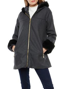 Long Faux Fur Trim Hooded Jacket - 3085051069741
