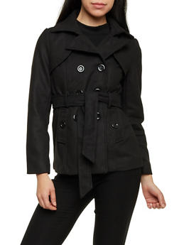 Belted Short Wool Peacoat - 3085054266202