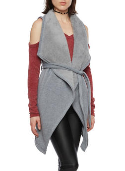Belted Fleece Vest with Plush Lining - 3086038341472