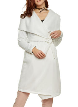 Fleece Duster with Tie Waist - IVORY - 3086038341570