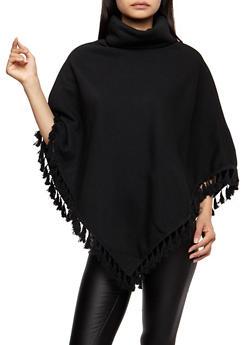 Fringe Poncho - BLACK - 3086038342592