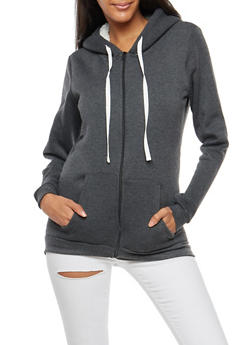 Sherpa Lined Zip Front Hoodie - 3086038342597