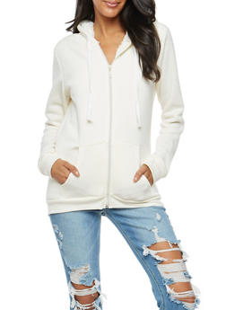 Sherpa Lined Zip Front Hoodie - WHITE - 3086038342597