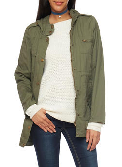 Anorak Jacket with Drawstring Waist - OLIVE - 3086038347041