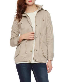Anorak Jacket with Drawstring Waist - 3086038347043