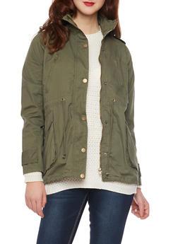 Anorak Jacket with Drawstring Waist - OLIVE - 3086038347043