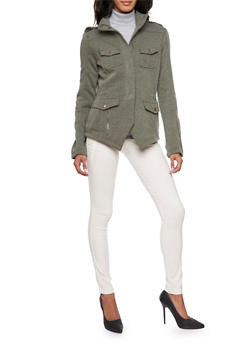 Fleece Jacket with Angled Hem - 3086051060433