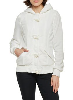 Knit Toggle Jacket with Sherpa Hood - IVORY - 3086051062890