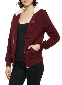 Knit Toggle Jacket with Sherpa Hood - BURGUNDY - 3086051062890
