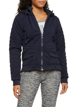 Hooded Fleece Jacket with Quilted Sleeves - 3086051063951