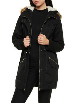 Hooded Jacket with Faux Fur Trim - 3086051064939