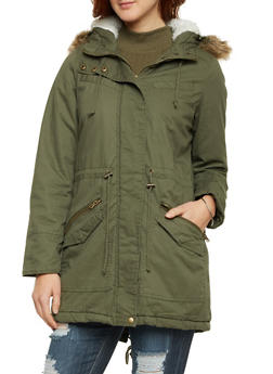 Hooded Jacket with Faux Fur Trim - OLIVE - 3086051064939