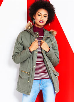 Hooded Anorak Jacket with Faux Fur Trim - OLIVE - 3086051064970