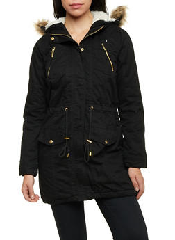 Hooded Jacket with Faux Fur Trim - 3086051065160