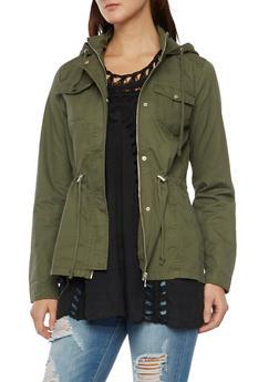 Anorak Jacket with Drawstring Waist - 3086051065373