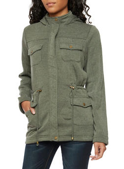 Fleece Lined Jacket with Attached Hood - 3086051065393