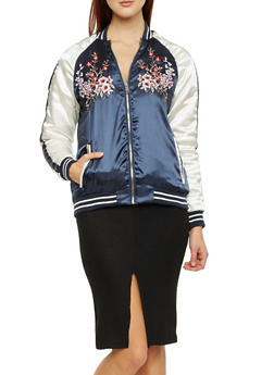 Satin Bomber Jacket with Floral Embroidery - 3086051065450