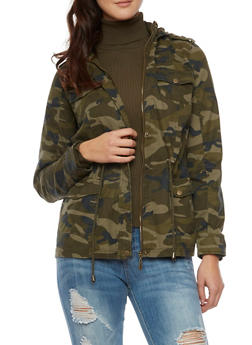 Camo Jacket with Hood and Drawstring Waist - 3086051065461