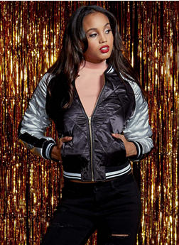 Quilted Satin Bomber Jacket - BLACK - 3086051065538