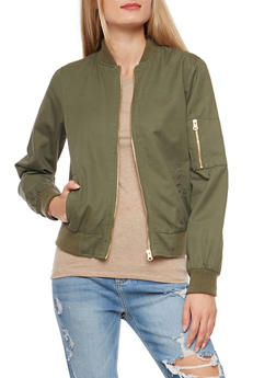 Twill Flight Jacket with Ribbed Knit Trim - 3086051065762