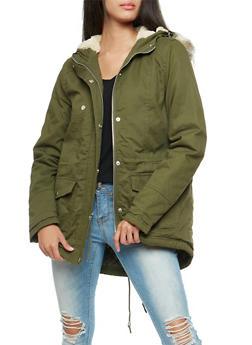 Faux Fur Trim Twill Anorak Jacket - OLIVE - 3086051066006