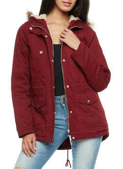 Faux Fur Trim Twill Anorak Jacket - BURGUNDY - 3086051066006