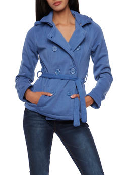 Belted Fleece Peacoat with Removable Hood - 3086051066801