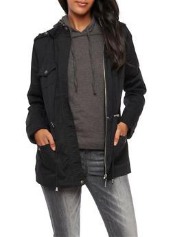 Solid Hooded Zip Up Anorak Jacket - BLACK - 3086051067110