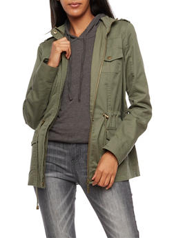 Solid Hooded Zip Up Anorak Jacket - 3086051067110