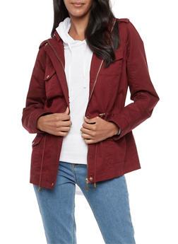 Solid Hooded Zip Up Anorak Jacket - 3086051067110