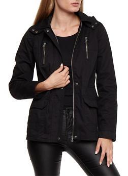 Zip Up Button Twill Anorak - BLACK - 3086051067496
