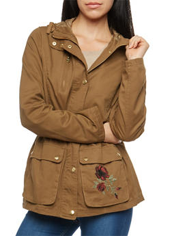 Embroidered Twill Anorak Jacket - 3086051067524