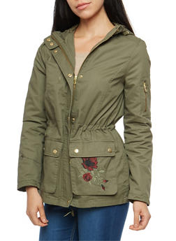 Embroidered Twill Anorak Jacket - OLIVE - 3086051067524