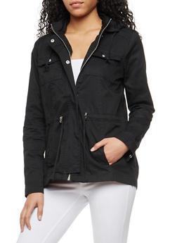 Hooded Twill Anorak Jacket - BLACK - 3086051067537