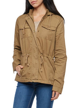 Hooded Twill Anorak Jacket - 3086051067537