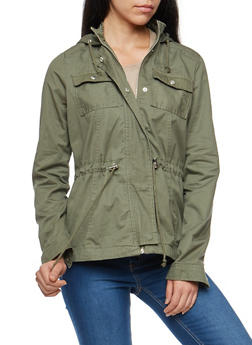 Hooded Twill Anorak Jacket - 3086051067537