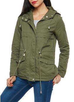 Hooded Zip Front Anorak Jacket - OLIVE - 3086051067585