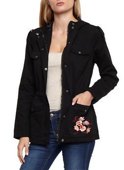 Hooded Twill Anorak Jacket - BLACK - 3086051067588