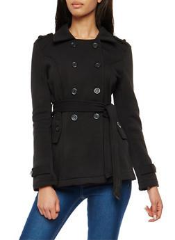 Burgundy Belted Fleece Peacoat - 3086054265100