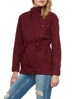 Hooded Twill Anorak Jacket with Drawstring Waist - BURGUNDY - 3086054265543