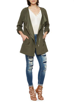 Hooded Jacket with Drawstring Waist - 3086054265841
