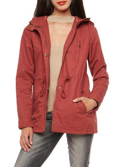 Solid Hooded Anorak Twill Jacket - 3086054266554