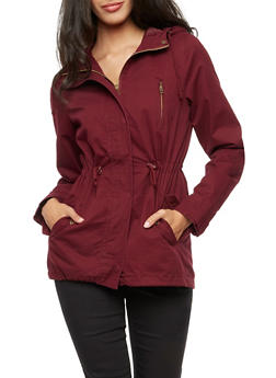 Solid Hooded Anorak Twill Jacket - BURGUNDY - 3086054266554
