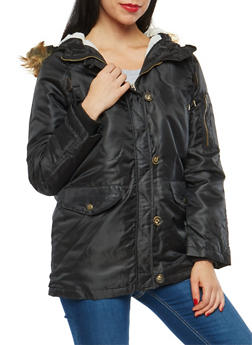 Zip Front Hooded Jacket with Button Detail - 3086054266871